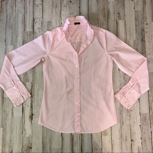 J.Crew Ruffled button-up Pink Striped Shirt